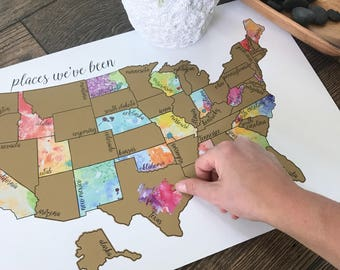 Watercolor Scratch Off Map - United States of America Travel Map (USA)- Been There Scratched That - Graduation Gift