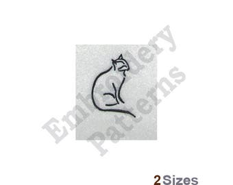 Black Cat Outline - Machine Embroidery Design