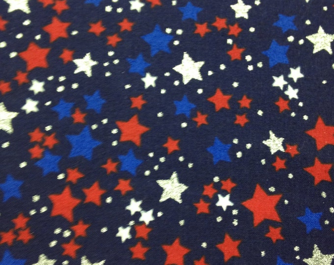 Multi-colored stars on navy, cotton fabric, sold by ( multiple lengths) #58