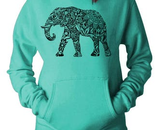 Women's Casual Fashion Graphic Elephant  Hoodie Hooded Sweater