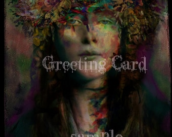 GREETING CARD no3 - Envelope included - 5 x 7 Suitable for FRAMING - Mixed Media Altered Art - Art Print - Flower Crown