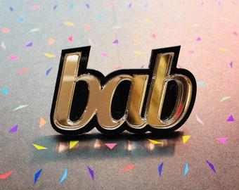 bab laser cut pin badge brooch, Birmingham & Black country