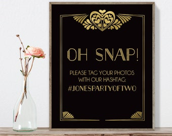 Great Gatsby Hashtag Sign / Instagram Sign / Art Deco, Roaring Twenties, 1920s / Black and Gold ▷ Printable File {or} Printed & Shipped