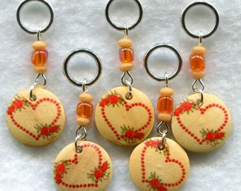 Open Heart Knitting Stitch Markers Wood Medallions  Red Hearts Set of 5 /SM75
