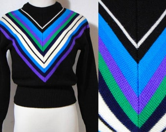 vintage 70s black abstract sweater top shirt cropped ski long sleeve hipster boho hippie