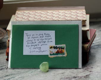 There is no such thing as chance ... J C F von Schiller Green card with handwritten quote and Swedish postal stamp