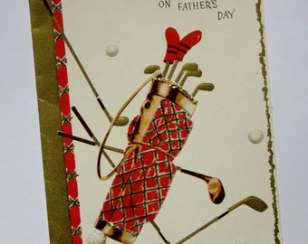Vintage Unused Fathers Day Card to Father Featuring an Embossed Set of Golf Clubs, Plaid Golfing Bag, and Golf Balls, Gold Embellishments