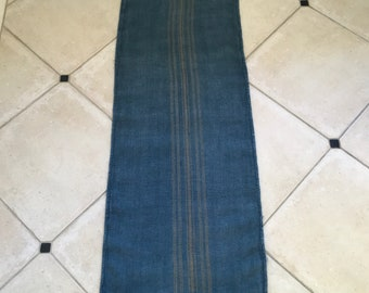 DNS1820 Grey Blue Dyed Vintage Linen Grain Sack with Taupe Stripe Upholstery Fabric Flour Sack for Sewing Projects Bath Mat Pillow Cover