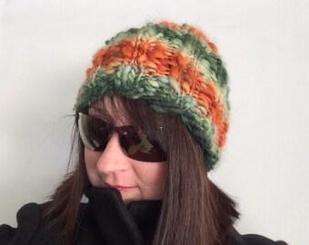 Handspun Knit Hat Warm Winter Cap Man's Striped Toque Women's Pumpkin Cloche Ooak
