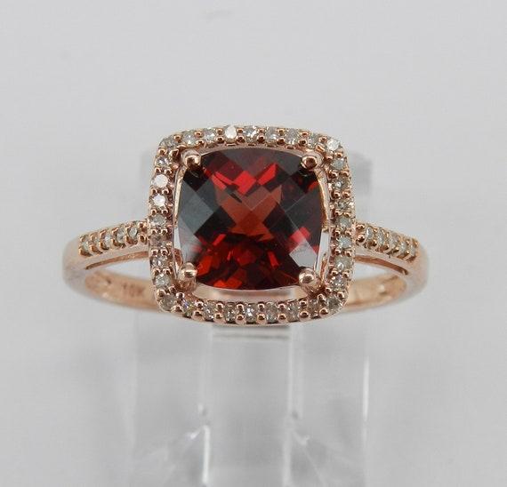 Cushion Cut Garnet and Diamond Halo Engagement Ring Rose Gold Size 7 January Gem