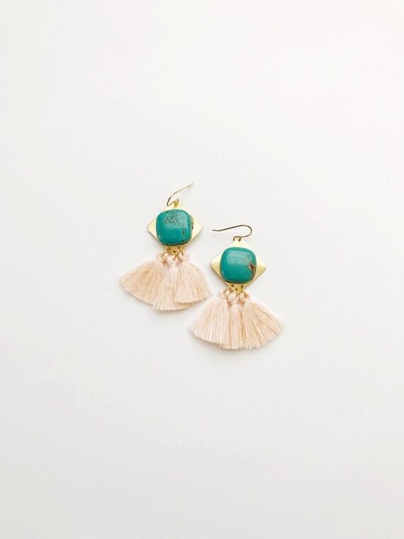 Turquoise and Peach Tassel Earrings