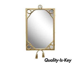 Vintage Italian Hollywood Regency Gold Gilt Iron Rope Tassel Tole Wall Mirror