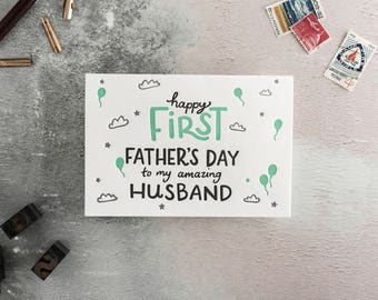 Happy First Father's Day to my Husband Letterpress Card - blank inside and perfect to add to a Father's Day gift