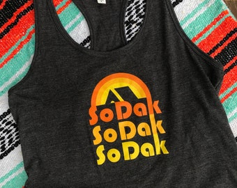 Women's SoDak Gray Racerback Tank - South Dakota Womens Heather Dark Gray Tank - SoDak Retro Camping Racerback Tank Top by Oh Geez! Design