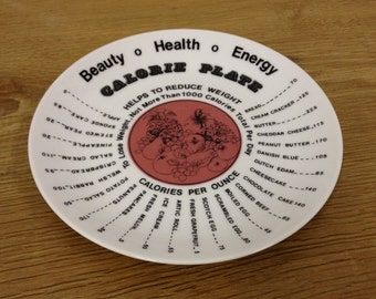 Vintage Continental Czechoslovakia China Calorie Counting Plate, 1977 - Very Good Condition.