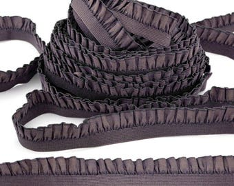 Lace Ribbon ruffled elastic soft smooth chocolate satin x 3 meters