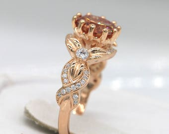 Vintage Rose Gold Floral Ring/Rose Gold Ring/Sterling silver floral ring/Promise Ring S114