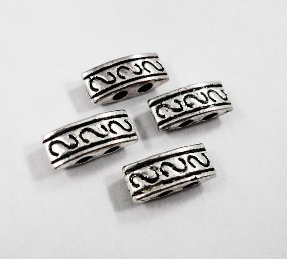 Silver Two Hole Beads 10x4mm Antique Silver Metal Beads, Bar Beads, 2 Hole Spacer Beads, Beading Supplies, Jewelry Making, 24 Loose Beads