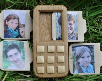 Wooden phone, Wooden toy, Toy mobile phone, Personalized wooden toy, Baby phone, Kids phone, Baby birthday gift, Wooden toys, Model SLIDER