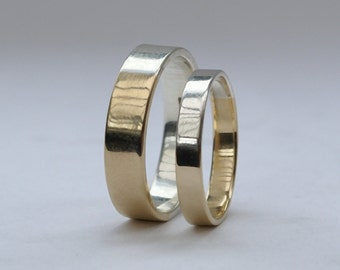 Golden Ratio Wedding Rings Set - Matching Wedding Bands, His and Hers, in 9k Gold and Sterling Silver
