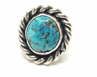 Handmade Statement Sterling Silver Turquoise Ring .925 sz. 4.75