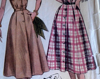 Vintage 50s Notched Neckline Button Front Short Cuff Sleeve Shirtwaist Day Dress EASY Sewing Pattern 4260 B34