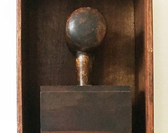 MALLET BOX:assemblage, sculpture, folk art, found object, antique