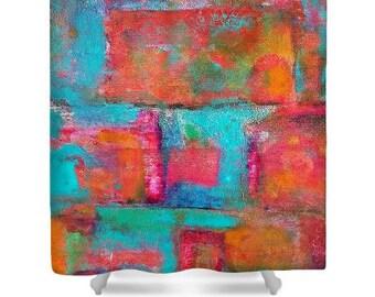 Abstract Designer Fabric Shower Curtain, Washable, Fine Art, Home Decor, Bathroom, Original Artwork, Cheerful, Bright, Cloth