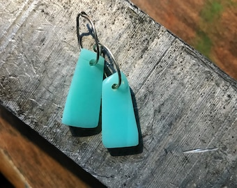 Seafoam surfite earrings! Made from recycled surfboard resin from my husband's shop