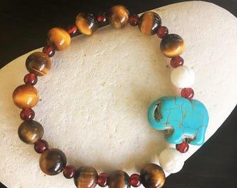 Turquoise + Tiger Eye Stone Bracelet