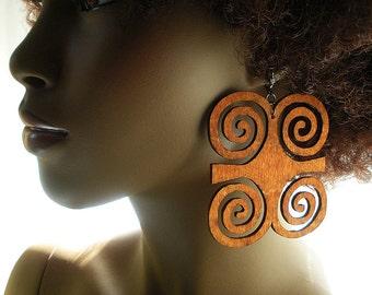 Dwennimmen Adinkra Wood Earrings