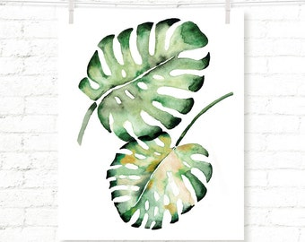Tropical Leaves - Palms - Philodendron - Watercolor - Art Print