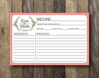 Personalized Recipe Cards - Printable Recipe Cards - Bridal Shower Recipe Card - Personalized Recipe Card - Bridal Recipe Card - 4x6 Recipe