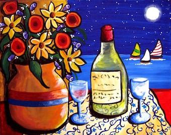 Clay Pot Flowers Wine Sailboats Colorful Whimsical Folk Art Romantic Art Print Giclee