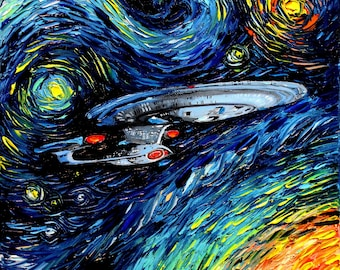 Star Trek Art - Starry Night Giclee print van Gogh Never Boldly Went by Aja 8x8, 10x10, 12x12, 20x20, and 24x24 inches choose your size