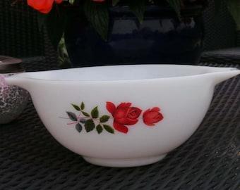 JAJ pyrex June Rose Pattern  Cinderella Mixing Bowl.  Vintage Kitchen