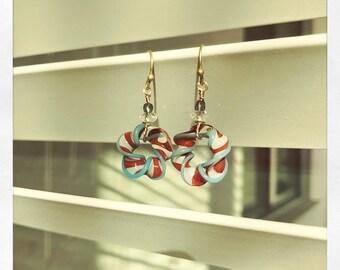 Handmade rainbow donut earrings - cotton candy