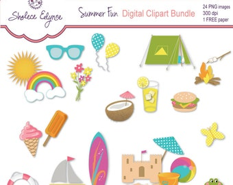 Summer Fun Clipart plus Free Paper, Instant Download