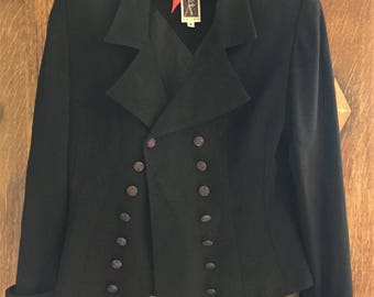 Black Rayon Double Breasted Blazer- by Zelda