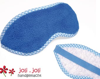 Cuddly Eye Mask in blue-white, made of eco-plush