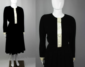 Vintage 80s do 50s Black Fitted Pleated Dress White Collar  Piping M