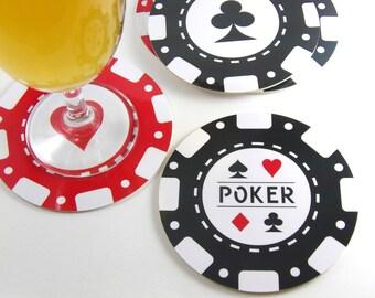 Set of 6 round coasters set of 6 coaster casino poker chips round coaster