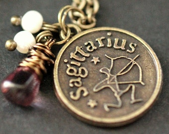 Sagittarius Necklace. Zodiac Necklace. Sun Sign Charm Necklace with Glass Teardrop and Pearls. Handmade Jewelry.