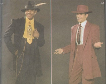 Simplicity 4585 Men's Zoot Suit Sewing Pattern, Ganster Costume, Size 38-44, UNCUT
