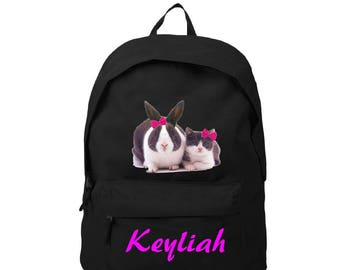 bag has black back Bunny and cat personalized with name