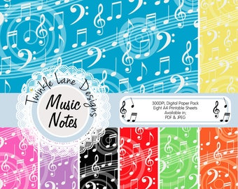 Musical Notes, Digital Paper, Music Printable Paper, Backing Paper, Background, Treble Clef, Bass Clef, Music Notes, Eight A4 Pages, Audio