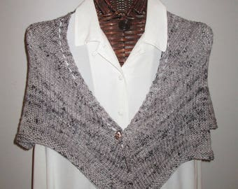 Black Peppered Pewter Hand-knit Wool Scarf