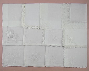 Wedding Hanky Lot,Vintage Hanky Lot,One Dozen White Wedding Vintage Hankies Handkerchiefs (Lot #104)