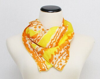 Abstract Vera Neumann Silk Scarf - Vintage 1960s Yellow and Orange Rare Unsigned Vera Scarf