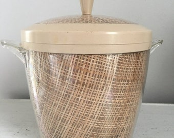 Raffiaware Ice Bucket / Vintage Barware / Burlap Ice Bucket / Bar Cart / Wedding / Vintage Wedding / Garden Wedding